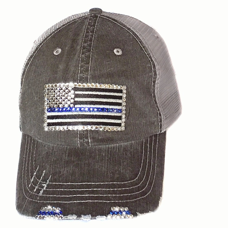 83d185135eb Womens Thin Blue Line Hat Bedazzled with Swarovski Crystal