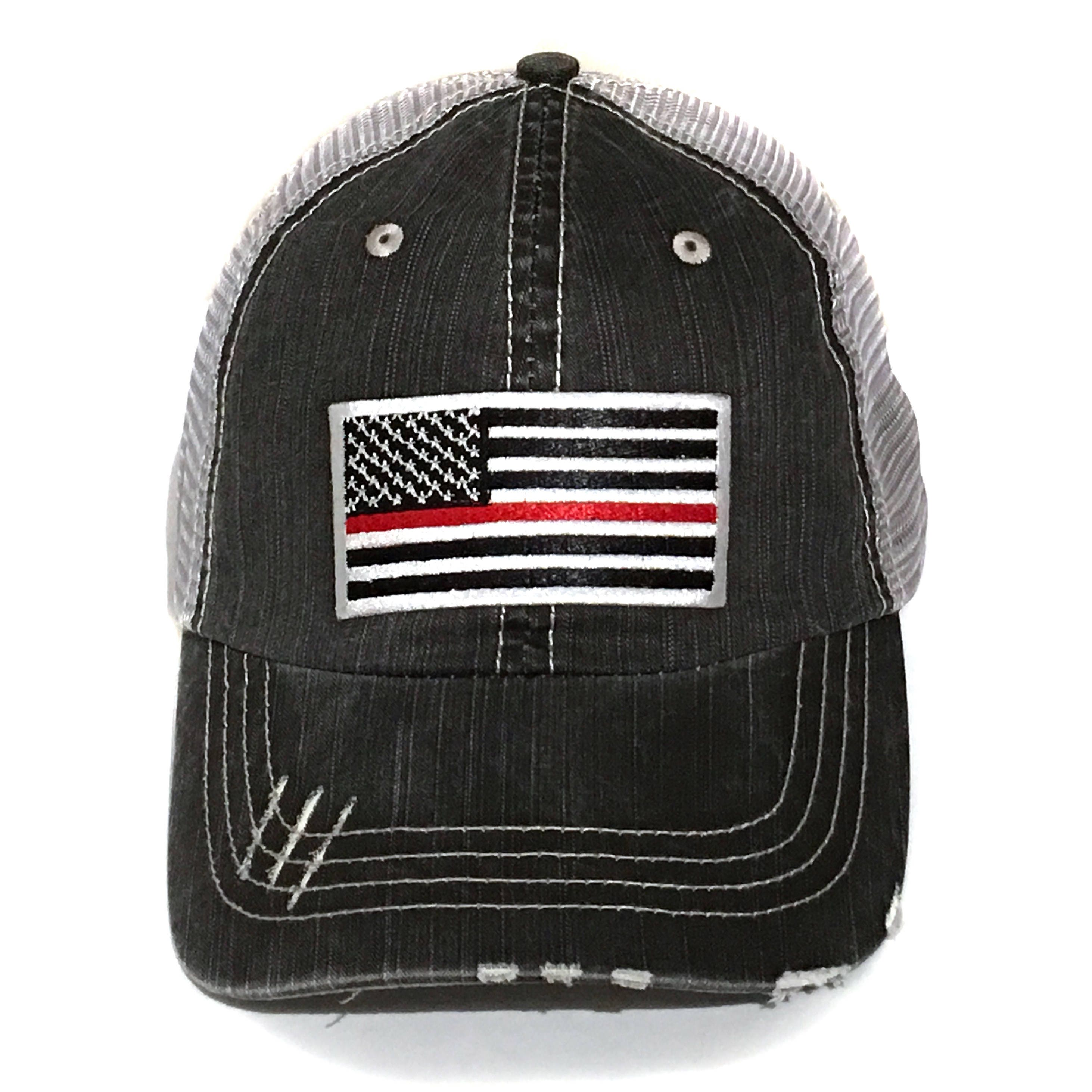 df51be404ed0 Mens Thin Red Line Flag Trucker Hat Firefighter Gift For Him