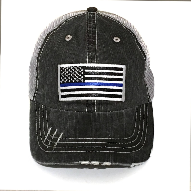 2461c9daea5 Men s Thin Blue Line Baseball Cap Embroidery Dad Hat
