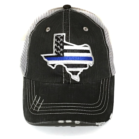 486f98a591e Men s Texas Thin Blue Line Baseball Cap Embroidery Dad Hat