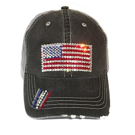 6cad8337d7a US Flag Ponytail Hat High Ponytail Flag Baseball Hat High Ponytail Bling Hat  High Ponytail Crystal Hat Ponytail July 4th Hat Elivata