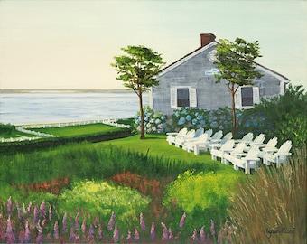 Fine Art Print - Chatham beach house - Chatham Bars Inn, Summer, Cape Cod, painting