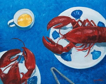 Fine Art Print - Lobsters for Two - Cape Cod, New England, Clambake, Lobsters, Summer, Red, White and Blue