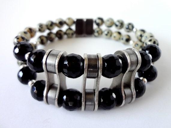 Onyx/Dalmation Jasper Gemstone double strand recycled bicycle chain link  bracelet, bicycle jewelry, cycling bracelet