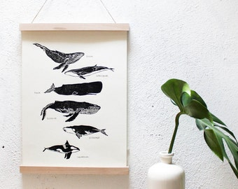 Poster whale, linocut whales A3 print, poster black white