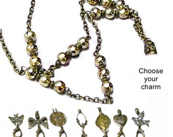 Beaded Necklace Lanyard holder keys security id badge bronze peace dove pearls