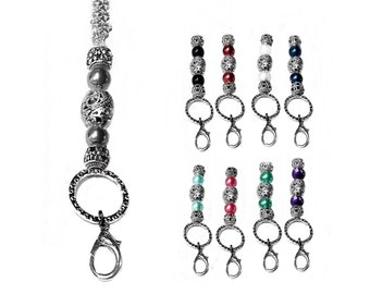 reading glasses choose charm and cord color or chain work id badge Charm lanyard necklace keys