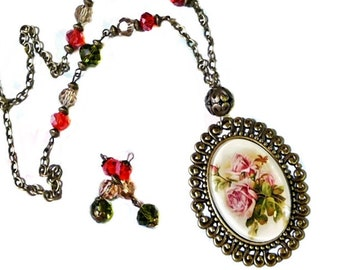 Necklace and earrings set clip on or pierced fittings violets dome cameo