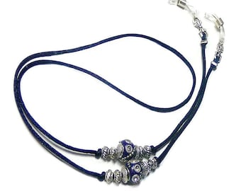 7014e69e32d Reading glasses spectacle holder lanyard cord Dark Navy Blue Indonesian Bead