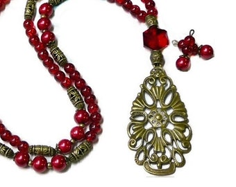 Long necklace and earrings set, red vintage style bronze teardrop lace charm, choose your fittings