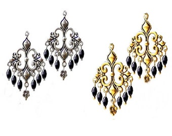 Earrings Fleur De Lis chandelier, black crystal, antique gold or silver, choose clip on or pierced fittings