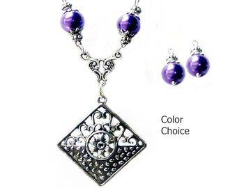 Charm Necklace Earring Set, filigree lace, choose color pearl and clip on or pierced fittings,