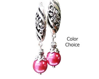 Earrings, Watermelon Pink glass pearl with silver lace drop, choose color pearl and clip on or pierced