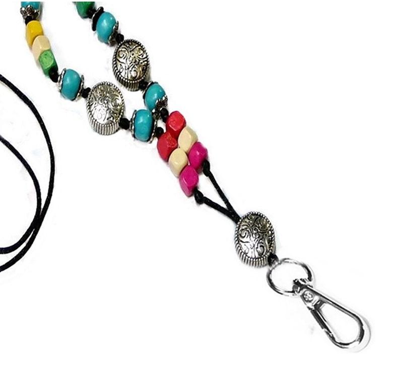 Cord Lanyard necklace,security teachers id badge keys holder Bright Rainbow Wood beads