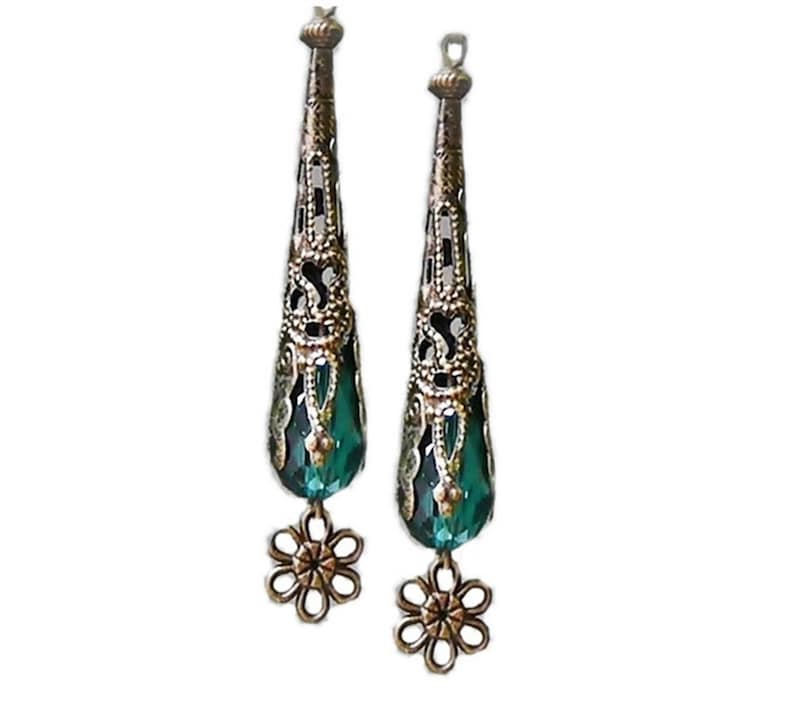 Bronzed Vintage Style teal green crystal filigree long dangle drop earrings choose clip on or pierced fittings