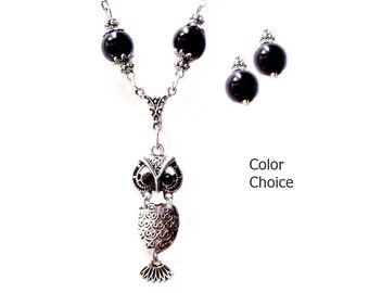 Charm Necklace Earring Set, Silver owl pendant, choose color pearl and clip on or pierced fittings,