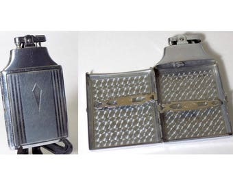 1950s Ronson Cigarette Case / Lighter Combo, Working Ronson Mastercase, Silver with Diamond Box, Collectible / Great Gift Idea
