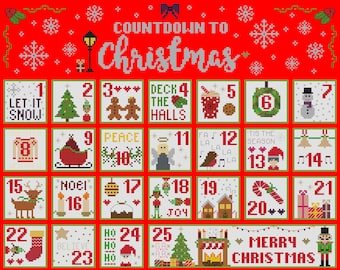 Countdown to Christmas Advent Cross Stitch Pattern Sampler PDF Download