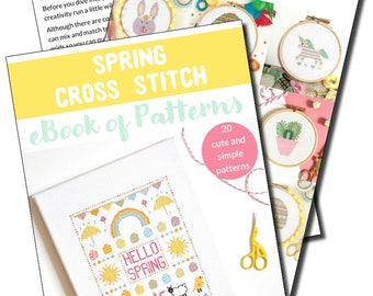 Spring Cross Stitch Pattern eBook | Easter, Spring and Floral PDF Patterns for Beginners