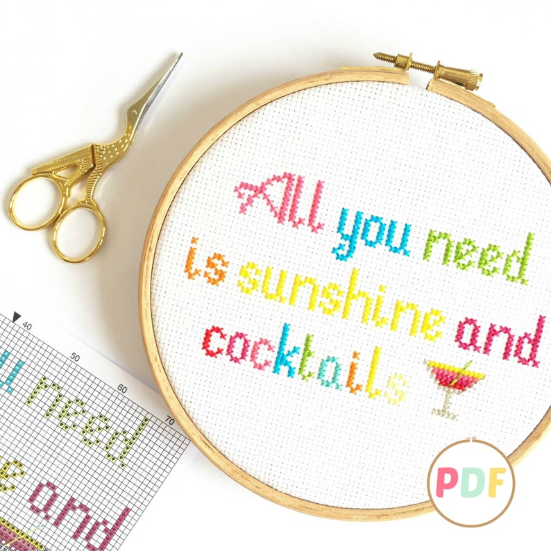 PDF Modern Cross Stitch Pattern  Sunshine and Cocktails  For image 0