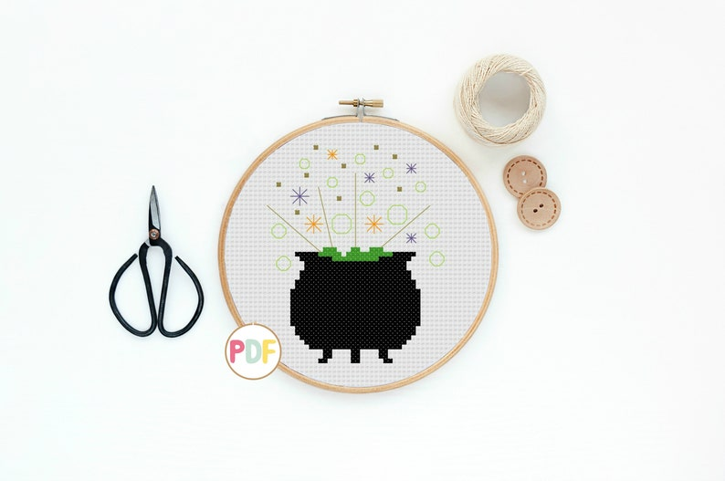 Halloween Witches Cauldron PDF Cross Stitch Pattern For Adults image 0