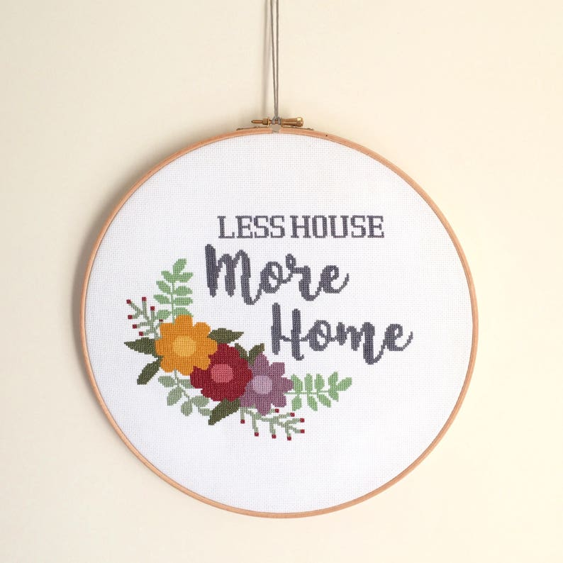 Cross Stitch Pattern  Less House More Home  PDF Download image 0