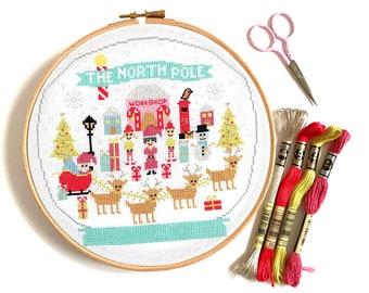PDF The North Pole Christmas Cross Stitch Pattern - Retro Palette