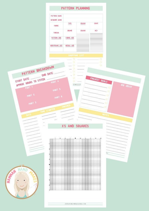 a4 cross stitch project planner sheets craft embroidery etsy