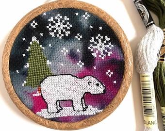 PDF Polar Bear Cross Stitch Pattern - Intermediate