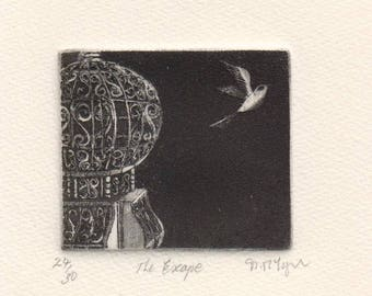 The Escape, original etching of a bird flying away from a birdcage