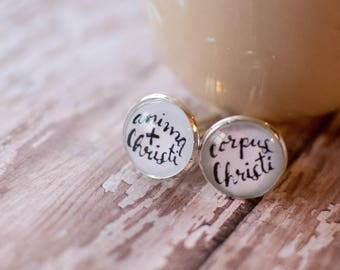 Anima Christi Cufflinks, Catholic Gift for Priest, First Communion Gift for Boy, Gift for Godfather, Silver Religious Cuff Links