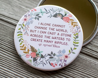 Mother Teresa Quote Makeup Mirror, Christian Purse Mirror, Inspirational Hand Mirror, Encouraging Gift for Friend, Religious Quote Mirror