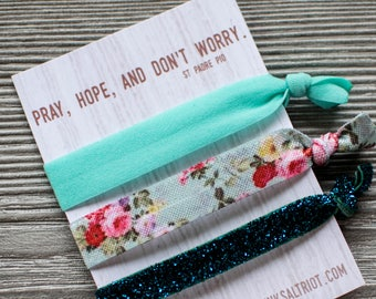 Mint Hair Tie Bracelets, Religious Hairtie Set, Christian Stocking Stuffers for Girls, Christian Party Favor, Turquoise Wristbands