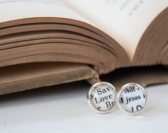 Love Jesus Earrings, Silver Stud Christian Earrings, Jesus Jewelry, Christian Gifts for Her, Catholic Jewelry