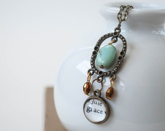 Grace Christian Boho Necklace, Bronze and Sea Green Long Bohemian Necklace, Catholic Gifts for Women