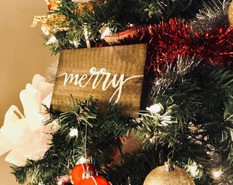Christmas Wood Calligraphy Signs | Holiday Decor | Christmas Signs | Christmas Tree Decor
