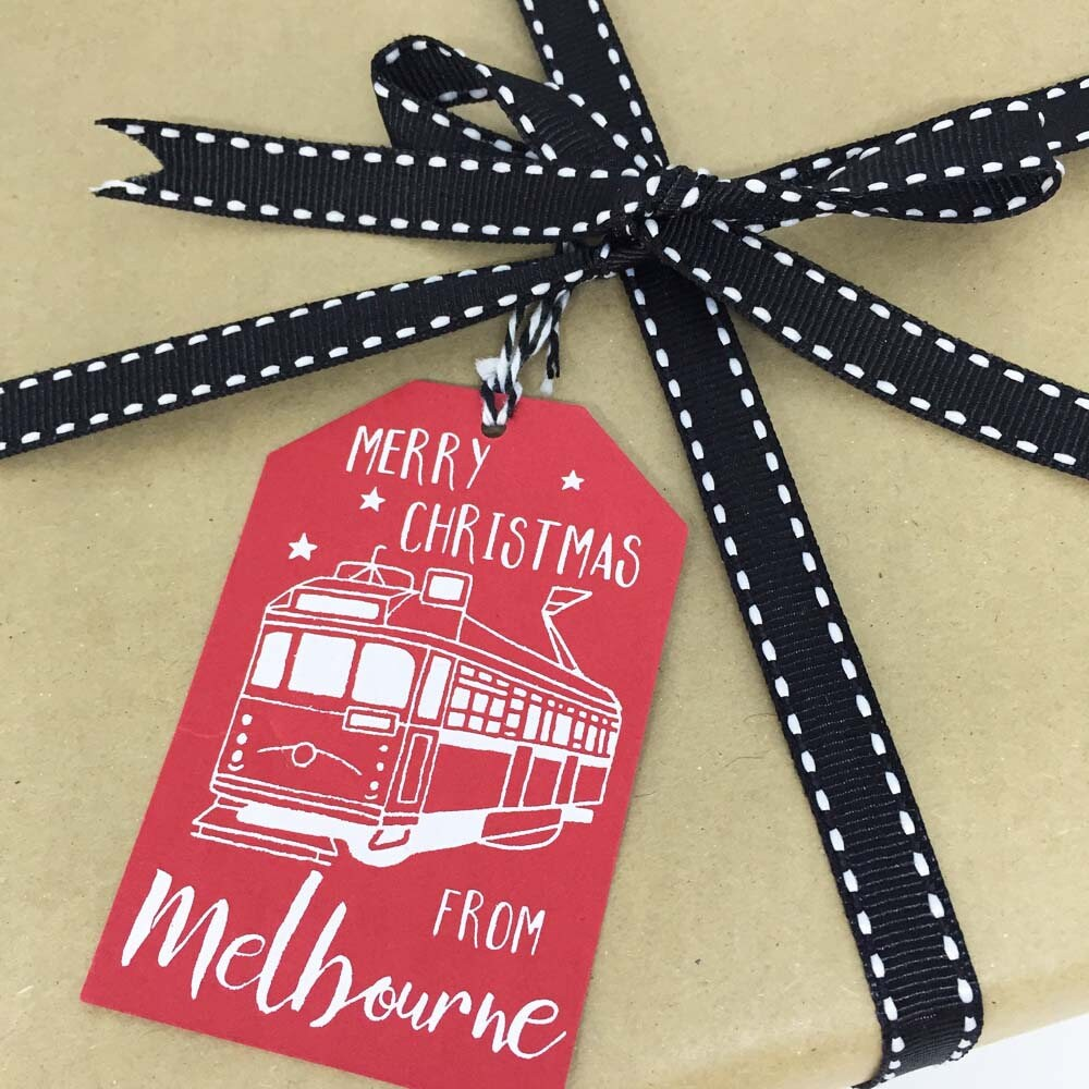 Merry Christmas From Melbourne Gift Tags 6 pack 2 designs | Etsy