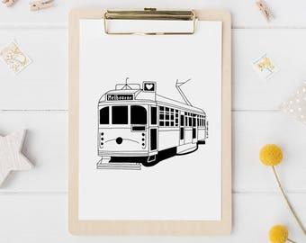 "Melbourne Tram illustrated A4 or 8""x10"" screen printed artwork, Tram Wall Art, Tram Gift"