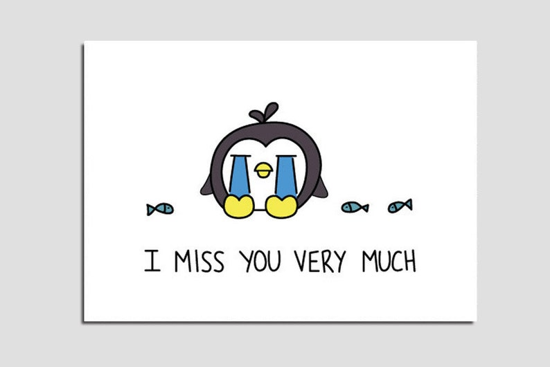 graphic regarding Printable Miss You Cards referred to as Printable Lost By yourself Playing cards - I Skip By yourself Rather A great deal - Lovely Lonely Penguin PDF Do-it-yourself Electronic Instantaneous Obtain Card
