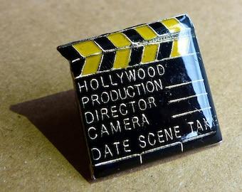 Vintage Hollywood Film Clapper Board Enamel Lapel Pin