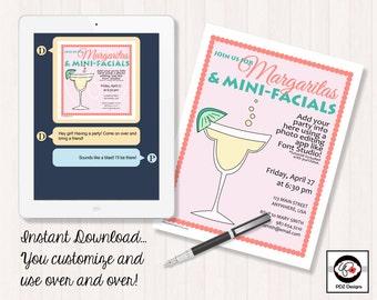 margaritas mini facials skincare party invitation bridal shower invitation wedding shower invitation girls night in girls night