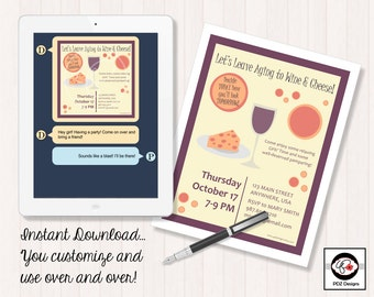 Let's Leave Aging to Wine & Cheese - Skincare Party Invitation - Skincare Business Invitation - Girls Night In - Girls Night Out - Digital