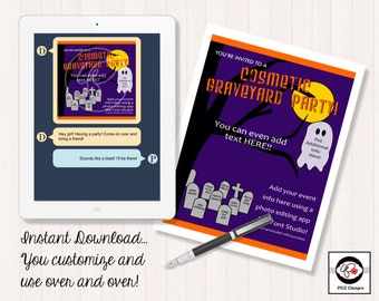 Cosmetic Graveyard - Makeup Business Party - Instant Download Business Invitation - Girls Night In Invitation - Skincare Invitation