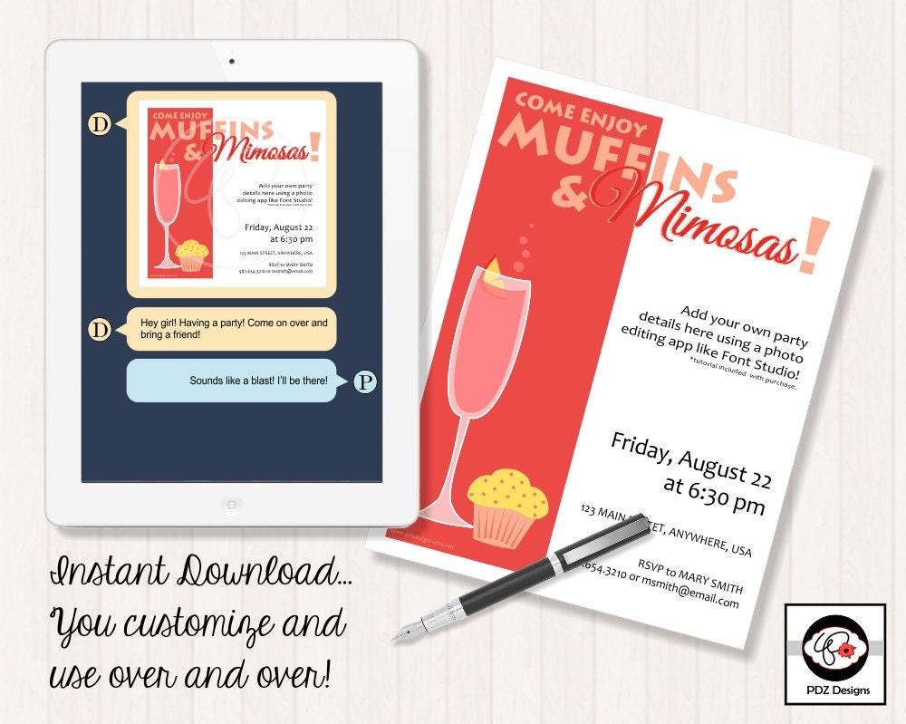 Muffins and Mimosas Bridal Shower Invitation Girls Night   Etsy