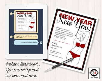 New Year New You - Health Nutrition Party - Direct Sales Company Party - Business Party Invitation - Direct Sales Invitation - Home Business