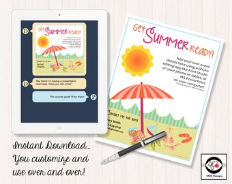 Get Summer Ready -  Healthy Living Party Invitation - Nutrition Business Invitation - Instant Download - Digital Invitation - Pool Party