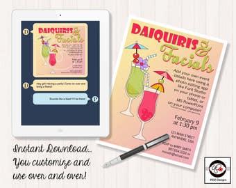 Daiquiris & Facials  - Skincare Invitation - Bridal Shower Invitation - Facial Party Invitation - Girls Night In - Makeup Business Party