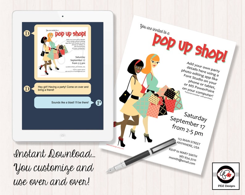 Pop Up Shop Invitation Business Party Invitation Makeup Etsy