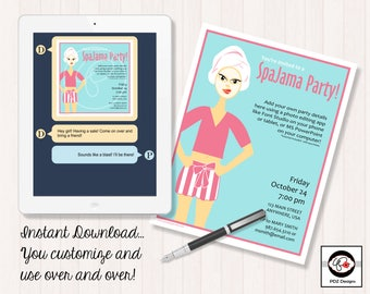 SpaJama Party - Skincare Invitation - Cosmetic Invitation - Pajama Party - Business Party Invitation - Girls Night In - Girls Night Out