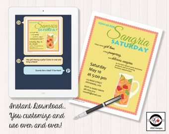 Sangria Saturday - Business Party Invitation - Skincare Invitation - Jewelry Invitation - Makeup Business - Girls Night Out - Home Business